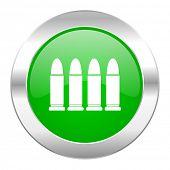 ammunition green circle chrome web icon isolated