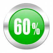 60 percent green circle chrome web icon isolated