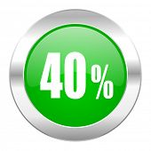 40 percent green circle chrome web icon isolated