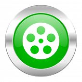 film green circle chrome web icon isolated