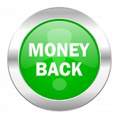 money back green circle chrome web icon isolated
