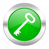 key green circle chrome web icon isolated