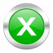 cancel green circle chrome web icon isolated