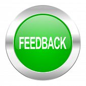 feedback green circle chrome web icon isolated