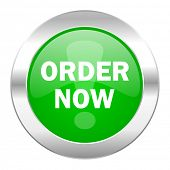 order now green circle chrome web icon isolated