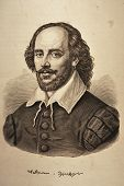 stock photo of hamlet  - William Shakespeare engraving portrait on rough ancient paper - JPG