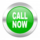 call now green circle chrome web icon isolated