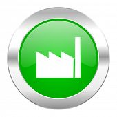 factory green circle chrome web icon isolated