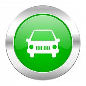 car green circle chrome web icon isolated