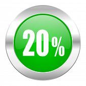 20 percent green circle chrome web icon isolated