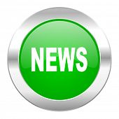 news green circle chrome web icon isolated