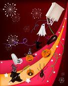 Various Halloween Item on Beautiful Halloween Background