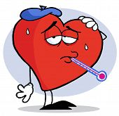 Red Heart With A Thermometer In His Mouth, Wearing An Ice Pack On His Head