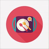 Dishware And Cutlery Flat Icon With Long Shadow