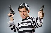 Funny prison inmate with gun
