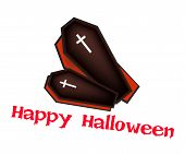 Two Black Coffins with Word Happy Halloween