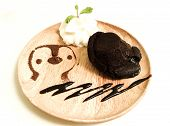 Molten Lava Chocolate Cake With Whipping Cream