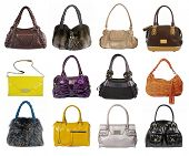 large collection of fashion handbag