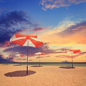 Beautiful Tropical Sunset Sky And Sea, Vintage Look