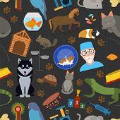 Domestic Pets Background. Pattern. Seamless