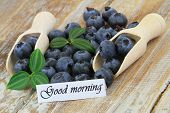 Good morning card with blueberries on wooden scoops