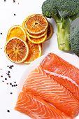 Raw salmon on a dish