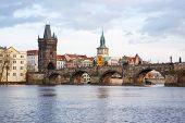 Panorama On Charles Bridge In Prague In The Eveining