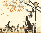 picture of romantic  - Autumn cafes and romantic relationship between man and woman - JPG
