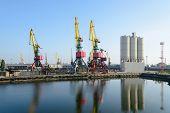 Big industrial harbor crane