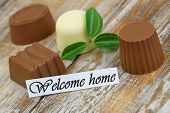 Welcome card with assorted chocolates