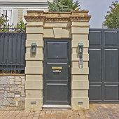 wealthy house door Athens suburbs Greece