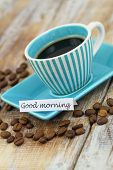 Good morning card with cup of coffee
