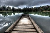 Bridge on lake - dark