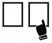 post stamp mark with hand cursor black icon - design element