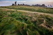 Wild path in coastline meadow in Ushant island, Brittany, France