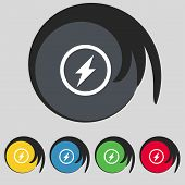 Photo flash sign icon. Lightning symbol. Set colourful buttons. Vector