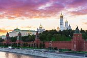 Sunset view of Kremlin in Moscow