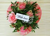 With love card with rose bouquet