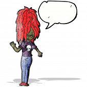 cartoon punk girl with speech bubble
