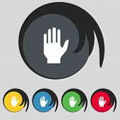 Hand print sign icon. Stop symbol. Set colour buttons. Vector