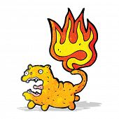 cartoon cat with tail on fire