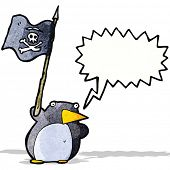 cartoon penguin waving pirate flag