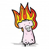 burning skull tee cartoon