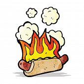 cartoon flaming hotdog