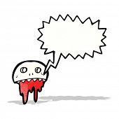 cartoon graffiti style skull with speech bubble