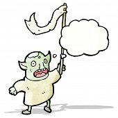 cartoon goblin waving flag