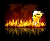 stock photo of hemorrhage  - Stop ebola virus theme background with world map fire flames and protection shield - JPG