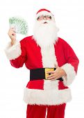 christmas, holidays, winning, currency and people concept - man in costume of santa claus with euro