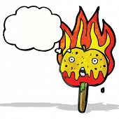 foto of toffee  - flaming hot toffee apple cartoon - JPG