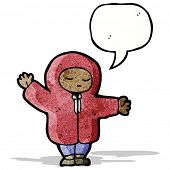 cartoon person in hooded coat